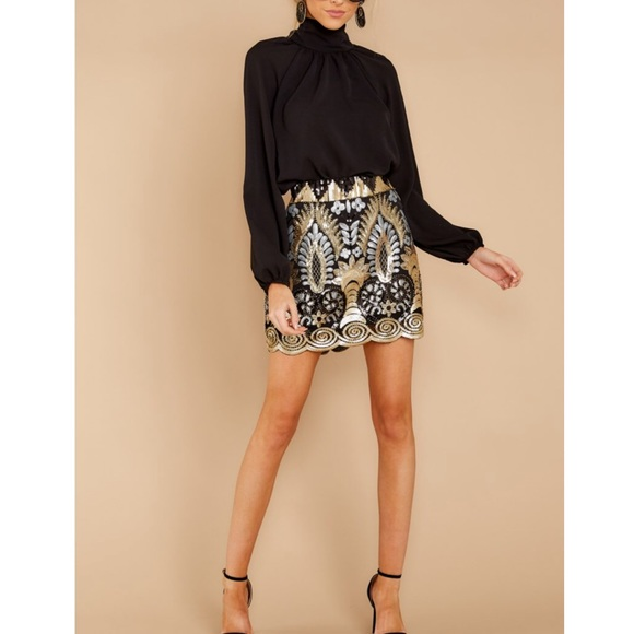 Vici Dresses & Skirts - Into the light gold and black sequin skirt